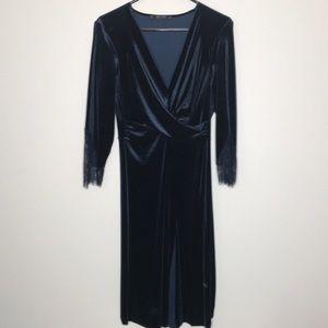 Zara Midnight Blue Velvet Dress